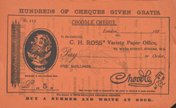 Advert for 'CH Ross' Variety Paper', comic, reverse side
